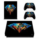 Colorful Dimond Design xbox one X skin decal for console and 2 controllers