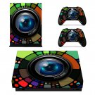 Zooming Camera Lens Design xbox one X skin decal for console and 2 controllers