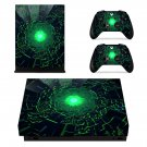 Lime Green Futuristic Geometric Pattern xbox one X skin decal for console and 2 controllers