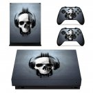 Skull Listening Music xbox one X skin decal for console and 2 controllers
