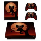 Halloween scary Cat xbox one X skin decal for console and 2 controllers