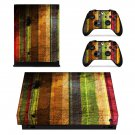 Rusted multicolor fabric design xbox one X skin decal for console and 2 controllers