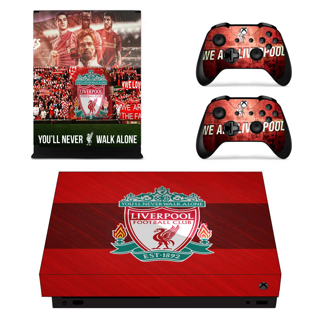 Liverpool xbox one X skin decal for console and 2 controllers