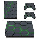 Hexagon Pattern Green Neon xbox one X skin decal for console and 2 controllers