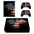 Vintage Custom American Flag xbox one X skin decal for console and 2 controllers