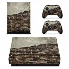 Pied Brick Wall xbox one X skin decal for console and 2 controllers