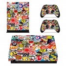Sticker Bomb Black White xbox one X skin decal for console and 2 controllers