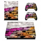 Colourful brick wall paint xbox one X skin decal for console and 2 controllers