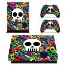 Colorful skull xbox one X skin decal for console and 2 controllers