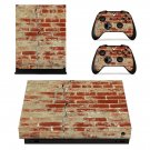 Rusted and Broken Brick wall xbox one X skin decal for console and 2 controllers