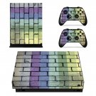 Colourful brick wall print xbox one X skin decal for console and 2 controllers