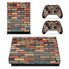 Multicolour brick wall print xbox one X skin decal for console and 2 controllers