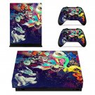 Colourful retro robots xbox one X skin decal for console and 2 controllers