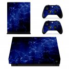 Blue custom xbox one X skin decal for console and 2 controllers