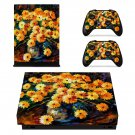 Flower painting xbox one X skin decal for console and 2 controllers