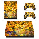 Yellow flowers oil painting xbox one X skin decal for console and 2 controllers