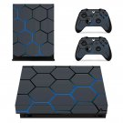 Hexagon Pattern blue Neon xbox one X skin decal for console and 2 controllers