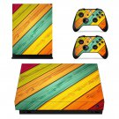 Multicolour wood pattern xbox one X skin decal for console and 2 controllers