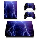 Abstract lightning xbox one X skin decal for console and 2 controllers