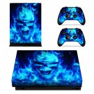 Burning Skull xbox one X skin decal for console and 2 controllers