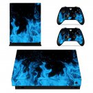 Blue Flame xbox one X skin decal for console and 2 controllers