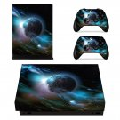 Earth in open Galaxy xbox one X skin decal for console and 2 controllers