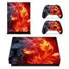 Flaming Tree xbox one X skin decal for console and 2 controllers