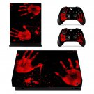 Bloody Hand Spot xbox one X skin decal for console and 2 controllers