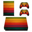 Colourful Wood Texture xbox one X skin decal for console and 2 controllers