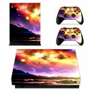 Sunny sky with Mountain View xbox one X skin decal for console and 2 controllers