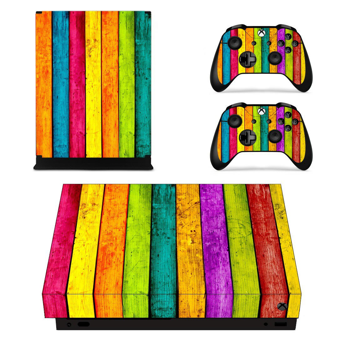Colorful Wooden Texture xbox one X skin decal for console and 2 controllers