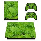 Green Cannabis xbox one X skin decal for console and 2 controllers