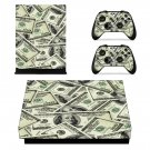 100 Dollar Bill Pattern xbox one X skin decal for console and 2 controllers