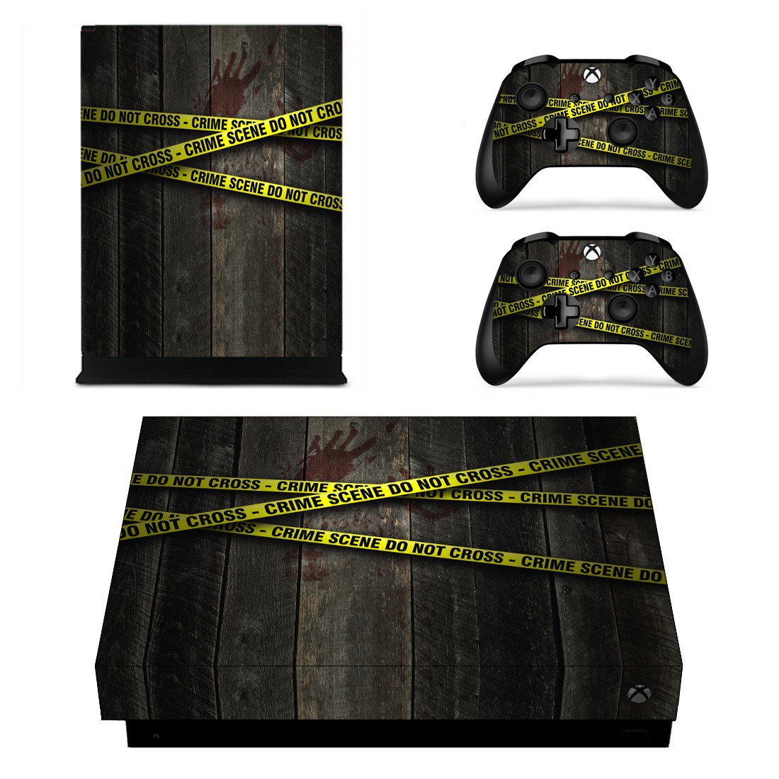 Crime Scene Do not cross xbox one X skin decal for console and 2 controllers