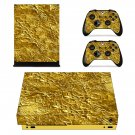 Golden wrapping paper texture xbox one X skin decal for console and 2 controllers