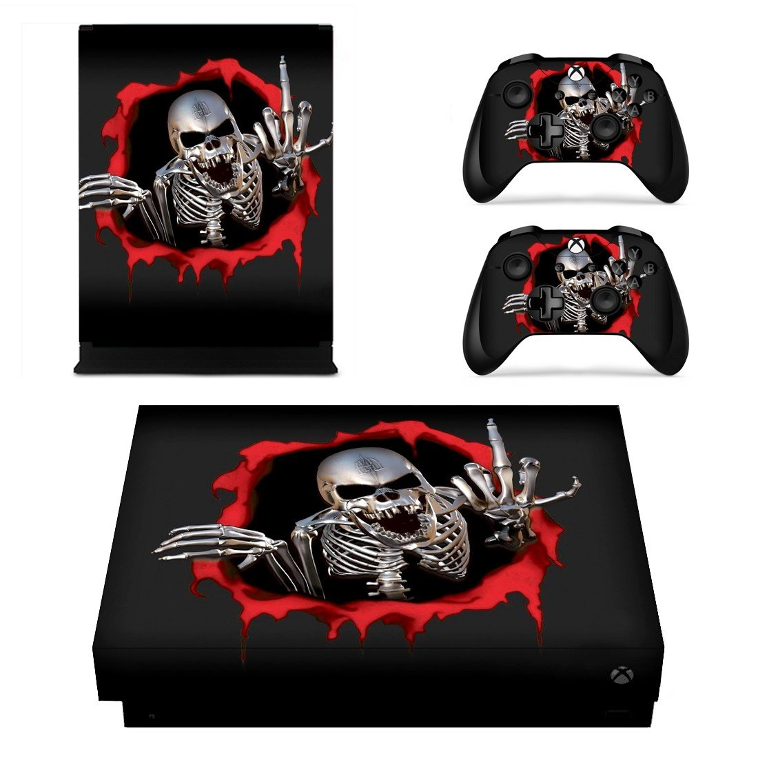 Skeleton xbox one X skin decal for console and 2 controllers
