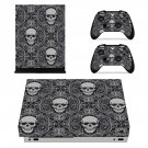 Skull With Design xbox one X skin decal for console and 2 controllers
