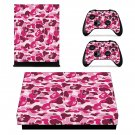Custom Pink Camouflage xbox one X skin decal for console and 2 controllers