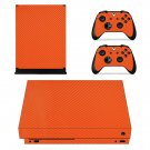 Orange Carbon Fiber xbox one X skin decal for console and 2 controllers