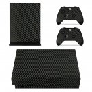 Black Carbon Fiber xbox one X skin decal for console and 2 controllers
