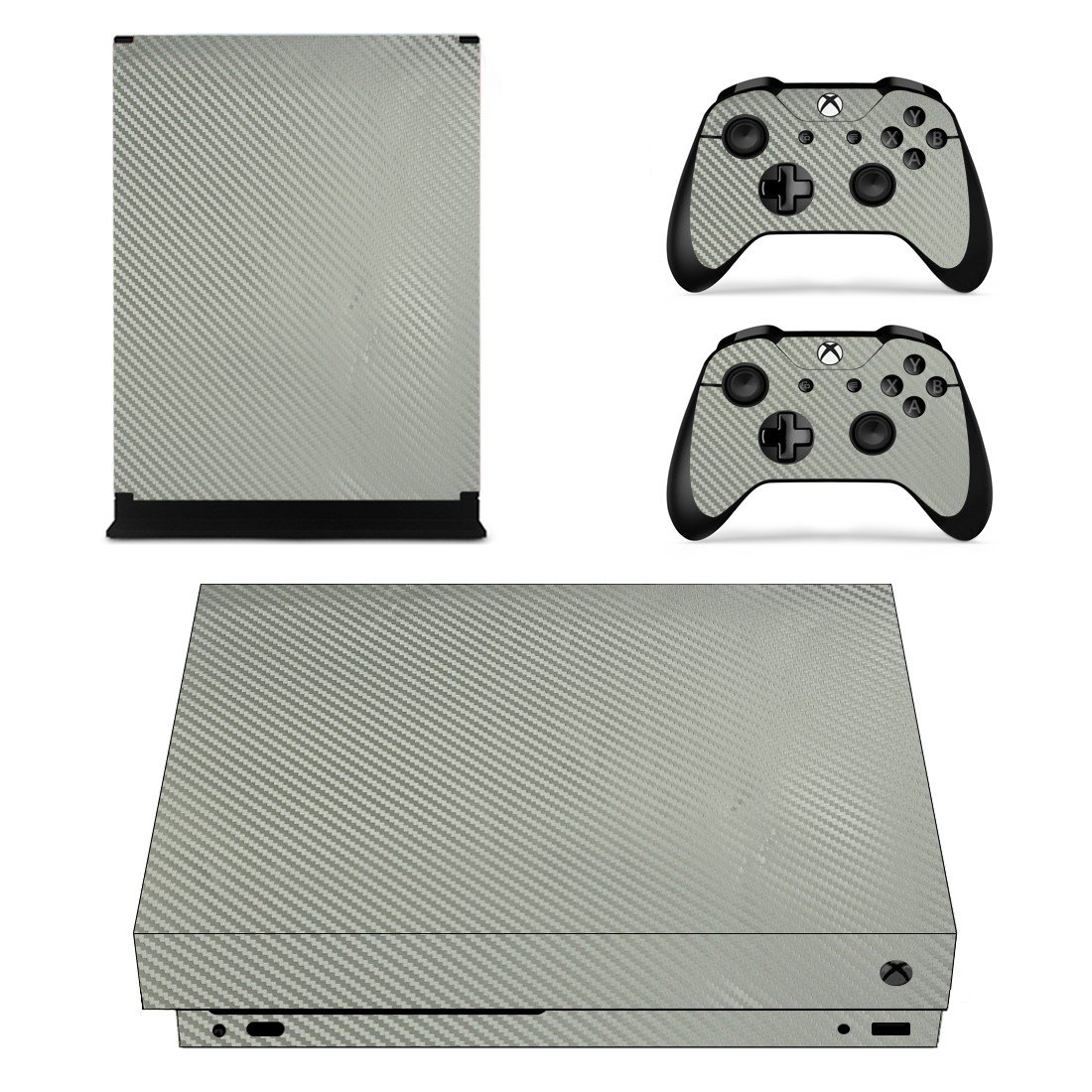 Silver Carbon Fiber xbox one X skin decal for console and 2 controllers