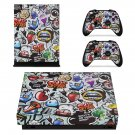 Cartoon graffiti xbox one X skin decal for console and 2 controllers