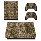 Rusted stone wall xbox one X skin decal for console and 2 controllers