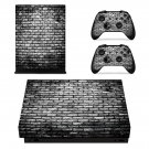 Black and White Brick wall xbox one X skin decal for console and 2 controllers