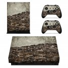 Broken Rusted Brick Wall xbox one X skin decal for console and 2 controllers