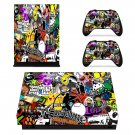Cartoon sticker bomb xbox one X skin decal for console and 2 controllers