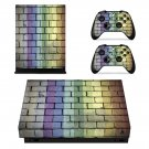 Colored Brick wall xbox one X skin decal for console and 2 controllers