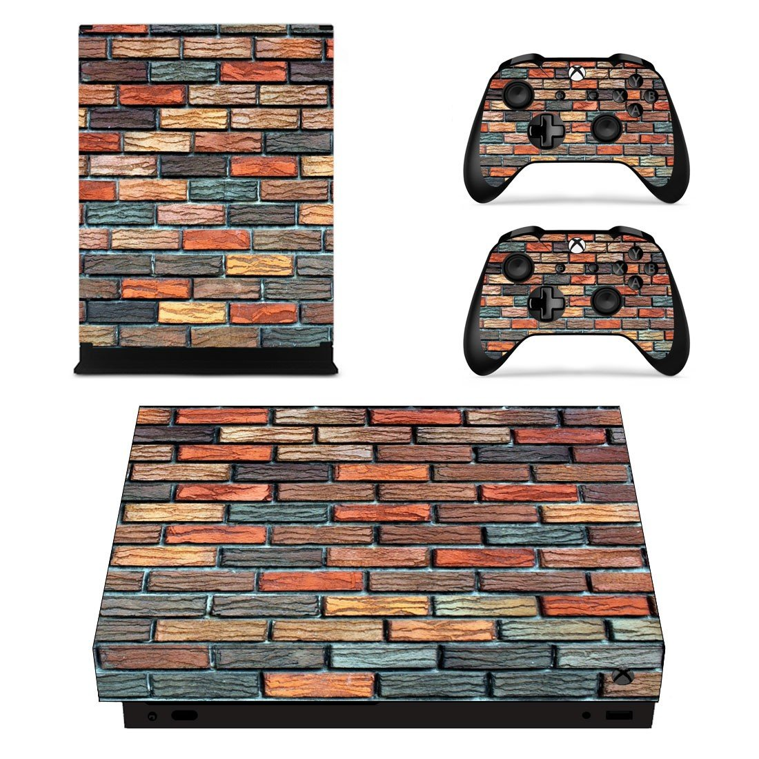 Multicolor Brick wall xbox one X skin decal for console and 2 controllers