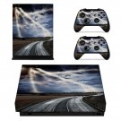 Lightning cloudy sky with road view xbox one X skin decal for console and 2 controllers