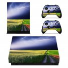 Lightning sky with nature view xbox one X skin decal for console and 2 controllers